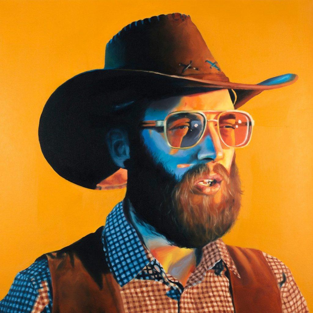 Peinture de Menoncle Jason sur fond orange.